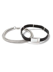 Topman Black Faux Leather And Silver Chain Bracelet 2 Pack