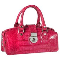 L.A.P.A. Hot Pink Croco Embossed Mini Doctor Style Bag