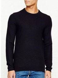 Reiss Zagger Honeycomb Crew Neck Jumper Navy