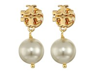Tory Burch Crystal Pearl Drop Earrings Ivory Shiny Gold
