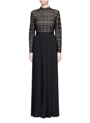 Self Portrait 'Lace Military' Pleated Skirt Floral Crochet Dress Black