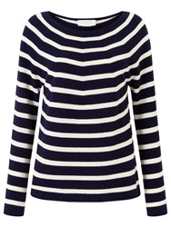 John Lewis Collection Weekend By Cashmere Stripe Jumper Navy Ivory