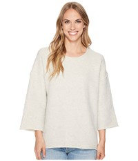 Dylan By True Grit Malibu Fleece Drop Shoulder Crew Natural T Shirt Beige