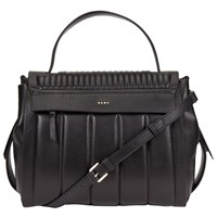 Dkny Gansevoort Leather Quilted Flap Shoulder Bag Black