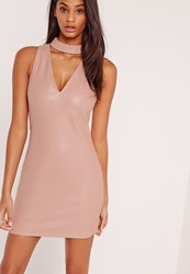 Missguided Sleeveless Choker Neck Faux Leather Shift Dress Nude