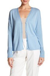 Lafayette 148 New York Sheer Trimmed Knit Cardigan Blue