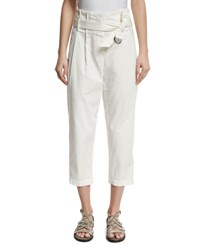 Brunello Cucinelli Belted Paperbag Waist Ankle Pants White