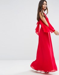 Asos Extreme Cold Shoulder Maxi Dress Bright Red Multi