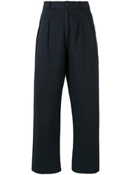 Universal Works Double Pleat Straight Trousers Blue