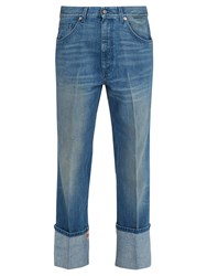Gucci Web Trimmed Straight Leg Jeans Blue