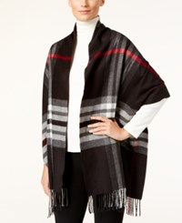 Charter Club Exploded Plaid Cashmink Blanket Scarf Only At Macy's Classic Black