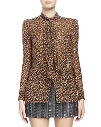 Saint Laurent Long Sleeve Leopard Print Georgette Blouse