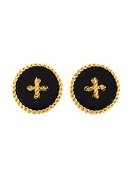 Chanel Vintage Couture Clip On Earrings Black