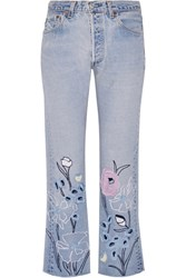 Bliss And Mischief Wild Flower Embroidered High Rise Straight Leg Jeans Light Denim