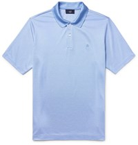 Dunhill Mulberry Silk And Cotton Blend Polo Shirt Sky Blue