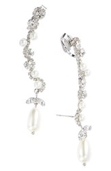 Cristabelle Women's Imitation Pearl And Crystal Clip Ear Crawlers