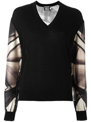 Fausto Puglisi Printed Sleeve Jumper Black