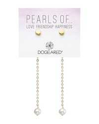 Dogeared Cultured Freshwater Pearl Front Back Earrings Gold