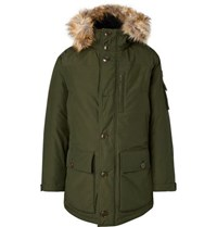 J.Crew Faux Fur Trimmed Water Resistant Shell Primaloft Parka Green