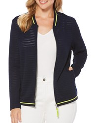 Rafaella Textured Cotton Blend Bomber Jacket Navy