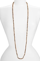 Love's Affect Women's Knotted Semiprecious Stone Necklace Brown
