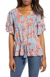 Wit And Wisdom Double Flounce Floral Top Slate Multi