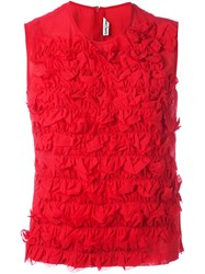 Comme Des Garcons Vintage Ruffle Detailed Top Red