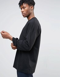 Asos Oversized Long Sleeve T Shirt With Bellow Sleeve In Black Black