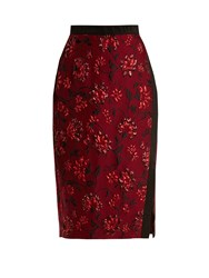 Altuzarra Sandrin Floral Brocade Pencil Skirt Burgundy Print