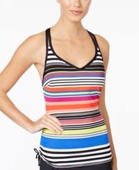 Jag Reactive Striped Underwire D Cup Tankini Top Women's Swimsuit Island Coral