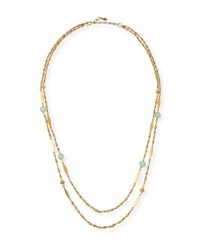 Sequin Double Strand Semiprecious Station Necklace Gold