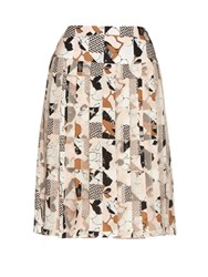 Oscar De La Renta Graphic Print Pleated Skirt Pink Multi