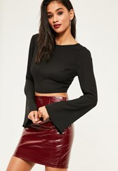 Missguided Black Flare Sleeve Open Back Crop Top