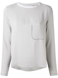 Fabiana Filippi Long Sleeve Crop Top Women Silk Cotton Acetate 46 Grey