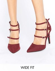 New Look Wide Fit Strappy Pointed Heel Red
