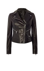 Karen Millen Leather Biker Jacket Black