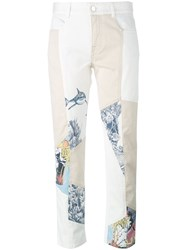 Stella Mccartney Graphic Print Panel Jeans Women Cotton Spandex Elastane 26 Nude Neutrals