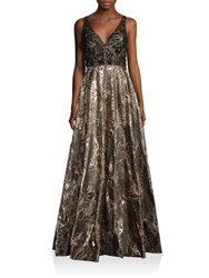 Badgley Mischka V Back Metallic Brocade Gown Gold
