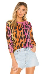 Autumn Cashmere Printed Ombre Leopard Crew In Pink. Warm Combo