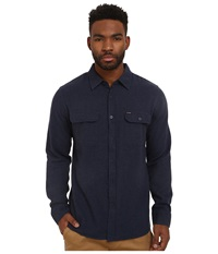 Brixton Donez Long Sleeve Flannel Washed Navy Men's Long Sleeve Button Up