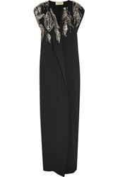 By Malene Birger Kalynasia Draped Embellished Crepe Gown Black