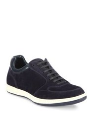 Giorgio Armani Suede And Leather Lace Up Sneakers Blue
