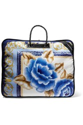 Balenciaga Blanket Printed Textured Leather Tote Blue