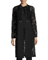 Nanette Nanette Lepore Lace Self Tie Long Sleeve Topper Black