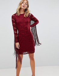 Forever Unique Lace Dress With Tassle Detail Red
