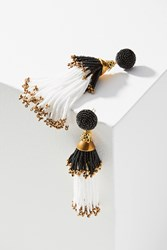Anthropologie Beaded Double Tassel Drop Earrings White