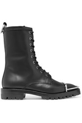 Alexander Wang Kennah Lace Up Leather Ankle Boots Black