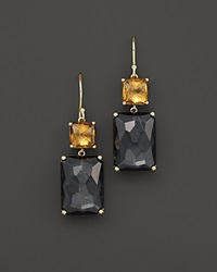 Ippolita 18K Gold Rock Candy Gelato Rectangle Snowman Earrings In Cognac Citrine And Rutilated Quartz Over Hematite Black Yellow