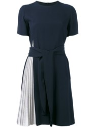 Emporio Armani Pleated Detail Dress Women Polyester Viscose 40 Blue