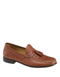 Johnston And Murphy Cresswell Woven Tassel Loafers Cognac